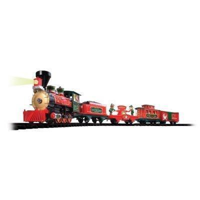 Holiday Santa Express Christmas Train Set 35 PIECE SET REMOTE CONTROL RADIO TRANSMITTER OVER 20 FEET OF TRACKS 37290