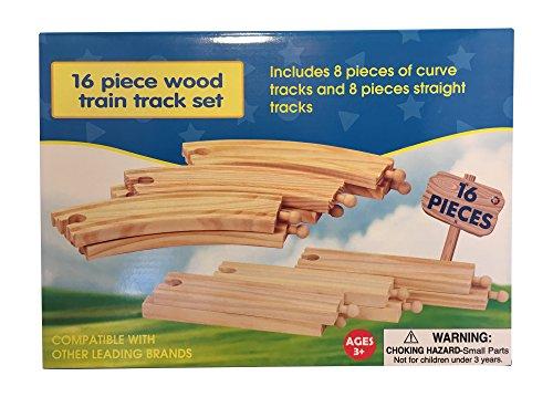 16-Piece Wooden Train Track Set