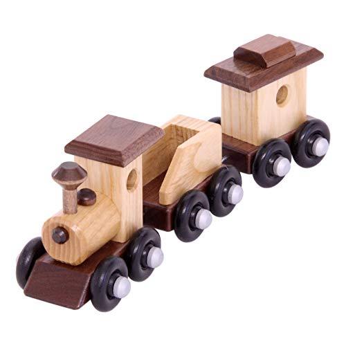 Amish-Made Wooden 8 Toy Train Play Set AshWalnut Wood