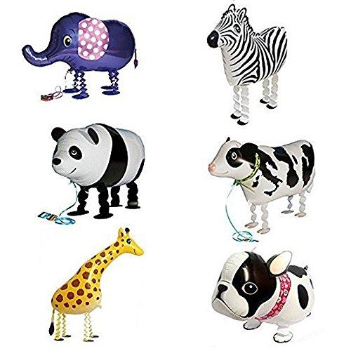 Balloon - TOOGOOR 6pcs Walking Animal Balloons Birthday Party Decor Children Kids Gift - Including Bulldog Giraffe Zebra Elephant Panda Cow
