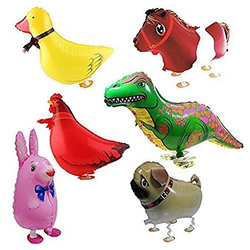 Balloon - TOOGOOR 6pcs Walking Animal Balloons Birthday Party Decor Children Kids Gift - Including Rabbit Dinosaur Horse Duck Chicken Pekingese