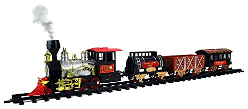 Classical Express Big Size 20 Piece Battery Operated Toy Train Set Real Smoke Lights Sounds w 4 Train Cars 12 Curved 4 Straight Tracks