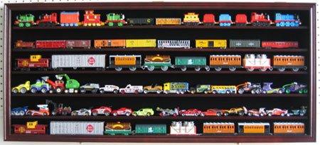 Large HO Scale Train Display Case Rack Cabinet Wall Mounted Shadow Box w UV Protection- Lockable-Mahogany Finish HW05-MA