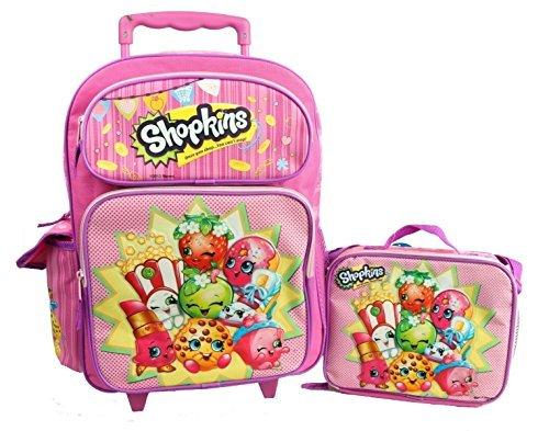 Shopkins 16 GIRLS KIDS LARGE ROLLING BACKPACK Plus LUNCH BAG