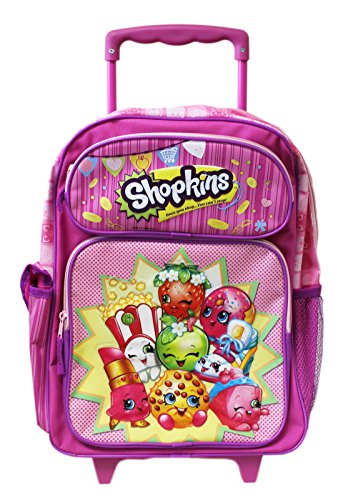 Shopkins Pink Full Size Kids Rolling Backpack 16in