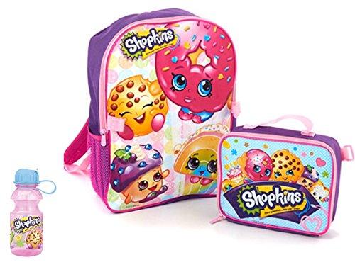 Shopkins Toys 3 Piece Kids Backpack Set - 16 Backpack Lunch Bag and Water Bottle