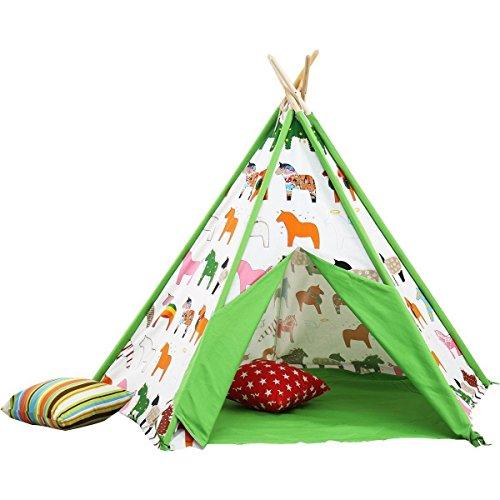 Sangdo Children Play Tent Five Poles Green Trojans Kids Play Teepee Tent