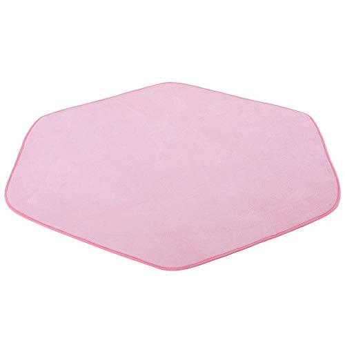 AYNEFY Hexagon Rug Pad Kids Play Tent Hexagon Rug Pink Coral Velvet Latex Rug for Princess Tent Castle Kids Playhouse