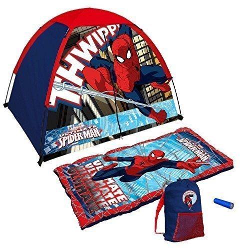 Marvel Ultimate Spiderman 4 Piece Kids Camp Kit - Indoor  Outdoor Play Tent Sleeping Bag Carry Sack Flashlight