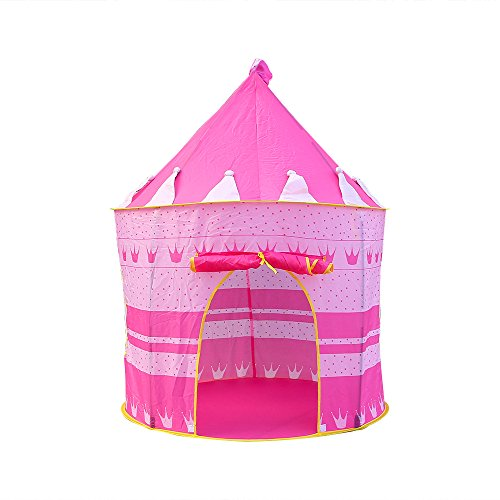 ZOGIN Kids Tent Toy Prince Playhouse Kids Play Yurt Tent Blue Prince Castle Tent - Kids Pop Up Wizard Princess Castle Tent for Indoor Outdoor Toys Foldable Playhouses Tents with Carry Case Pink