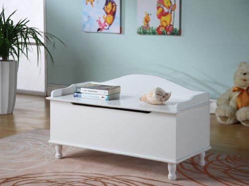 King Brand White Finish Wood Storage Bench Toy Box  Chest