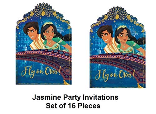 Jasmine Invitations Postcard Birthday Party Invite Seals and Save The Date Stickers Supplies Princess Pack of 16