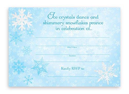 POP parties Snow Princess Large Invitations - Blue - 10 Invitations 10 Envelopes