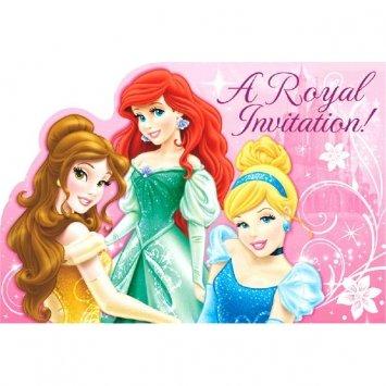 Sparkle Disney Princesses Invitations 8 Pack