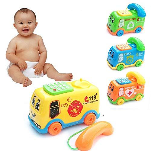 Lemoning 2020 Baby Toys Music Cartoon Bus Phone Educational Developmental Kids Toy Gift