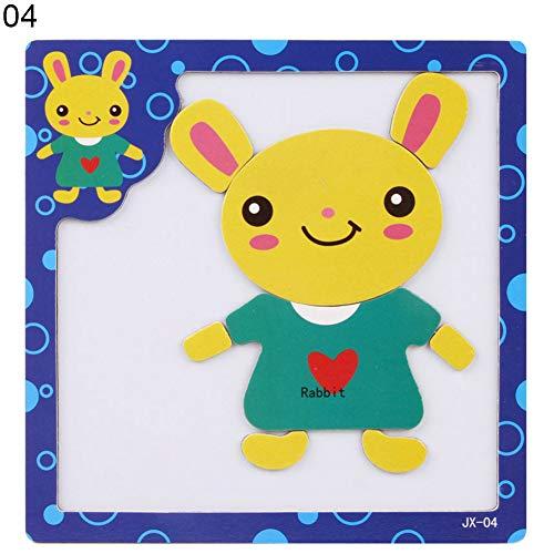 loinhgeo Wooden Cartoon Animal Puzzles Magnetic Jigsaw Board Early Educational Developmental Kids Toy Gift Rabbit