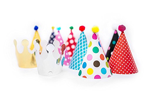 Kids Birthday Party Hats Fun Party Hats Set for Kids Baby Shower Birthday New Year Hats Set of 9 Hats and 2 Crowns