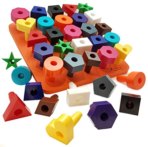 Peg board Shapes Puzzle 38pc Occupational Therapy Montessori Toddler Toy Preschool Games Fine Motor Skills Stacking Counting Learning By Skoolzy