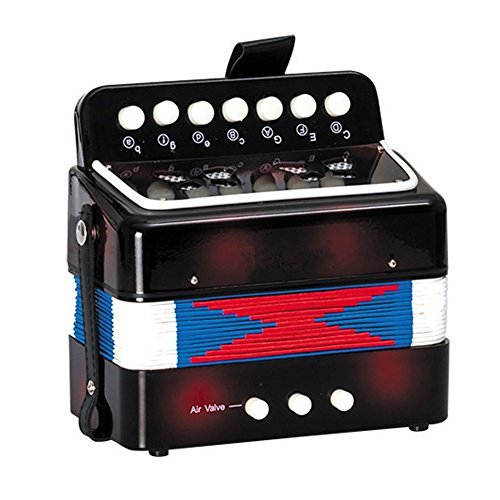 Kids Mini Black Music Accordion Toys with 7 Keys 2 Bass for Learning Music Instrument