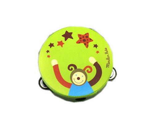 Kids Music Instruments Green Monkey Mini Tambourine Wood Tambourine
