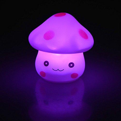 HARULU LED Novelty Lamp 7-Color Changing Night Romantic Mushroom Light Cute Lamp Decor