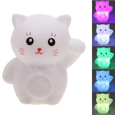 WayInSeven Color Changing Light Maneki Neko Shape Small LED Novelty Lamp