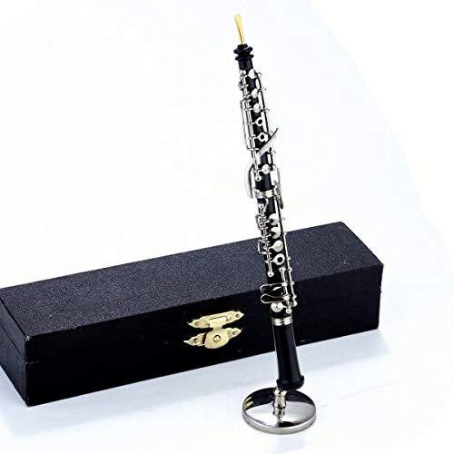 Seawoo Miniature Oboe with Stand and Case Mini Musical Instrument Mini Oboe Miniature Dollhouse Model Christmas Ornament Home Decor 631