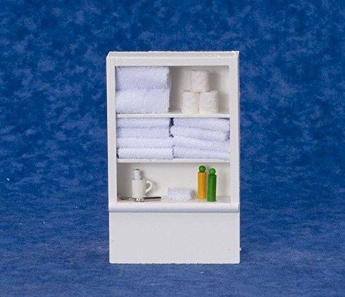 Dollhouse Miniature Linen Cabinet wWhite Towels by International Miniatures