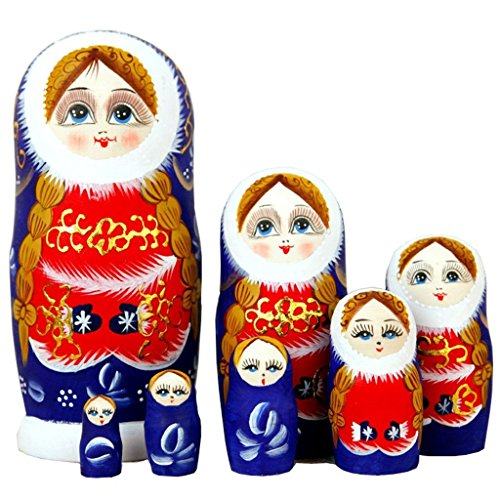 Cute Bule and Red Snow Little Girl With Double Ponytail Wooden Handmade Russian Nesting dolls Matryoshka Dolls Set 7 Pieces For Kids Toy Birthday Christmas New Year Gift Home Decoration