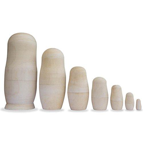 BestPysanky Set of 7 Unpainted Blank Wooden Russian Nesting Dolls 8 Inches