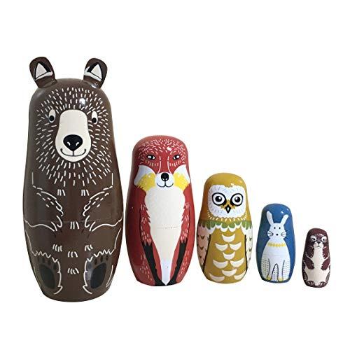 Helen-sky 5pcs Wooden Russian Nesting Dolls Cartoon Bear Fox Owl Matryoshka Dolls Handmade Kids Christmas Birthday Gift Home Decorations 5 pcs