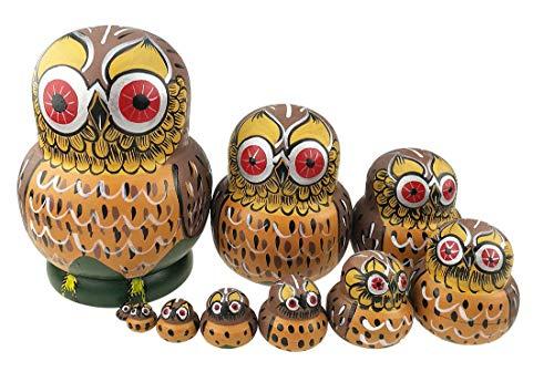 Unigift Set of 10 Cartoon Brown Owl Handmade Wooden Russian Nesting Dolls Matryoshka Dolls for Birthday Christmas New Year Gift Home Decoration Kids Toy