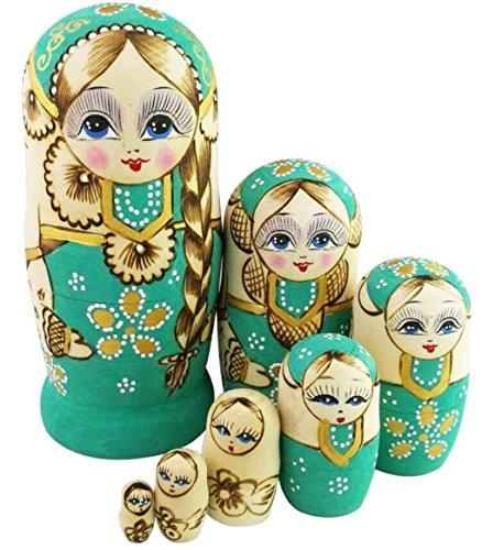 Winterworm Cute Little Girl with Big Braid Handmade Matryoshka Wishing Dolls Russian Nesting Dolls Set 7 Pieces Wooden Kids Gifts Toy Home Decoration Green