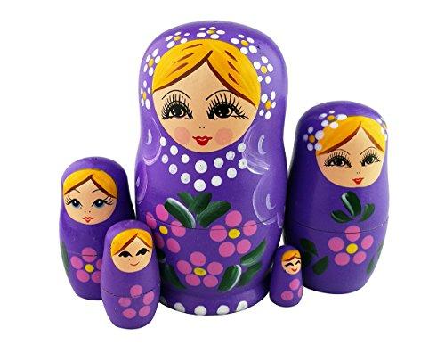 Winterworm Set of 5 Blonde Girl Pink Flower Purple Wooden Nesting Dolls Matryoshka Russian Doll Popular Handmade Stacking Toys Kids Gifts Christmas New Year Home Decoration