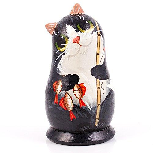 Cat with a Fishing Rod Nesting Dolls Set of 2pcs Matryoshka Dolls