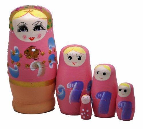 Pink Set of 5 Cutie Nesting Dolls Matryoshka Madness Russian Doll