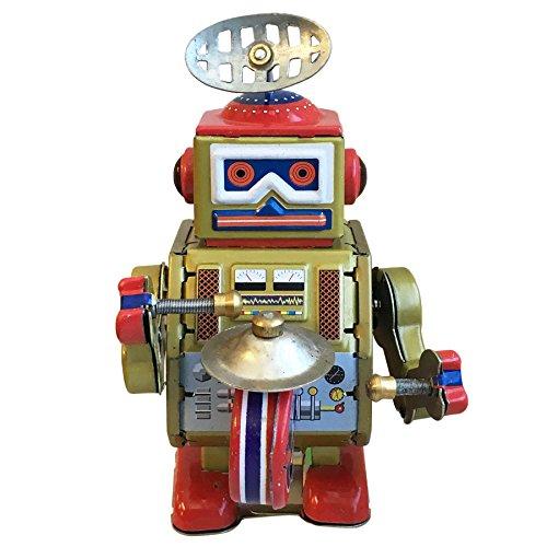 Retro Wind Up Tin Toys MS409 Walking Drummer Robot Clockwork Metal Toys Collectible Gift