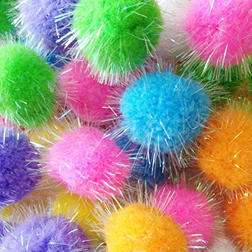 TECH-P Glitter Pom Pom Balls Sparkle Balls My Cats All Time Favorite Toy Tinsel Pom Poms - Assorted Color -16 Inch 40mm with Glitter- 200 Pack with 1 PCS TECH-P Coaster