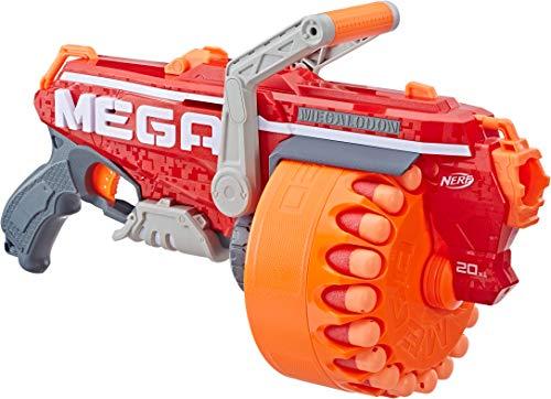 Megalodon Nerf N-Strike Mega Toy Blaster with 20 Official Mega Whistler Darts Includes Blaster Drum 20 Darts Instructions