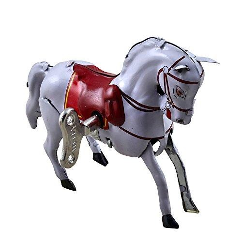 Metal White Circus Horse Cute Walks Vintage Tin Toys Collectibles