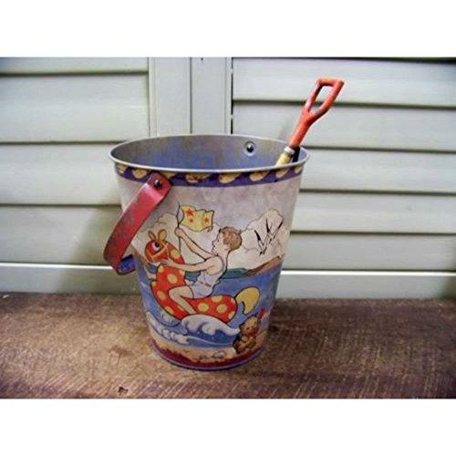 Vintage Look Tin Food Safe Beach Sand Pail Bucket w Shovel Ocean Toy