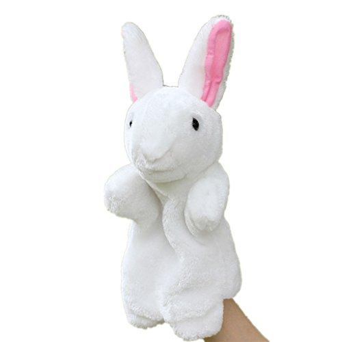 HLDIY Baby Cartoon White Rabbit Hand Puppet Plush Toy Storytelling Doll