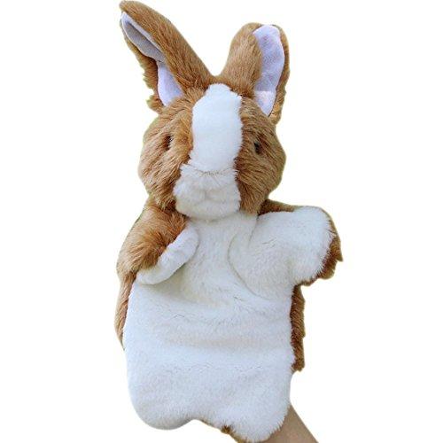 Happy Cherry Children Babys Puzzle Hand Puppet Plush Toys Rabbit Model Hand Dolls - Brown