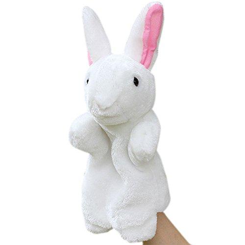 Jutao Plush Rabbit Hand Puppet Cute Animal Puppet For Kids White