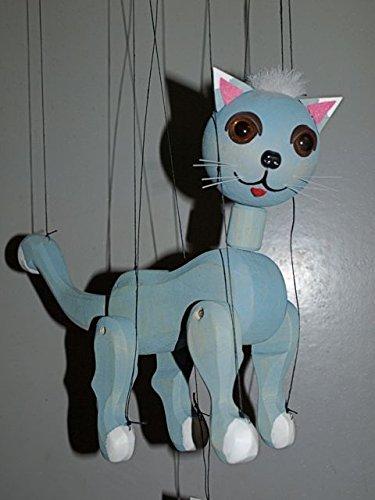 CAT  6 BLUE Loutka Marionette String Puppets Approx 18 High Hand Made In Prague Czech Republic