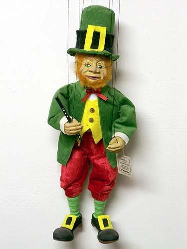Leprechaun 33 Loutka Marionette String Puppets Approx 18 High Hand Made In Prague Czech Republic