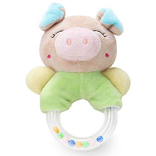 Merveilleux Baby Rattles Cartoon Plush Stuffed Animal Pig Shaker Toy Ring Rattle Newborn Toys - Angle Pig