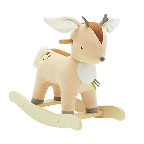 labebe 【New】 Baby Rocking Horse Plush Male Fawn Rocker Toy for Child 1-3 Years Rocking HorseFawn Rocking HorseDeer RockerReindeer Rocking HorseRiding HorseStuffed Animal Rocker NO Music