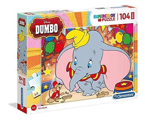 Clementoni 23728 23728-Supercolor Puzzle-Dumbo-104 Pieces Maxi Multi-Coloured