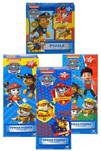 Paw Patrol 4 pk Puzzles - 3 Different Tower Puzzles with 24 pcs Each Plus Square Puzzle